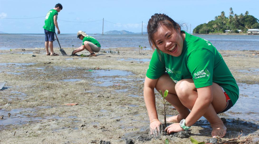 A Projects Abroad Conservation volunteer plants mangroves during her volunteer work abroad in Fiji